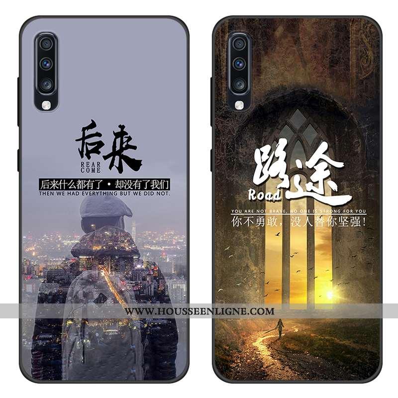 Étui Samsung Galaxy A70s Protection Tendance Étoile Gris Téléphone Portable Silicone Coque