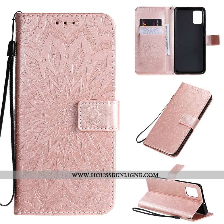Étui Samsung Galaxy A71 Cuir Protection Coque Étoile Clamshell Rose Téléphone Portable