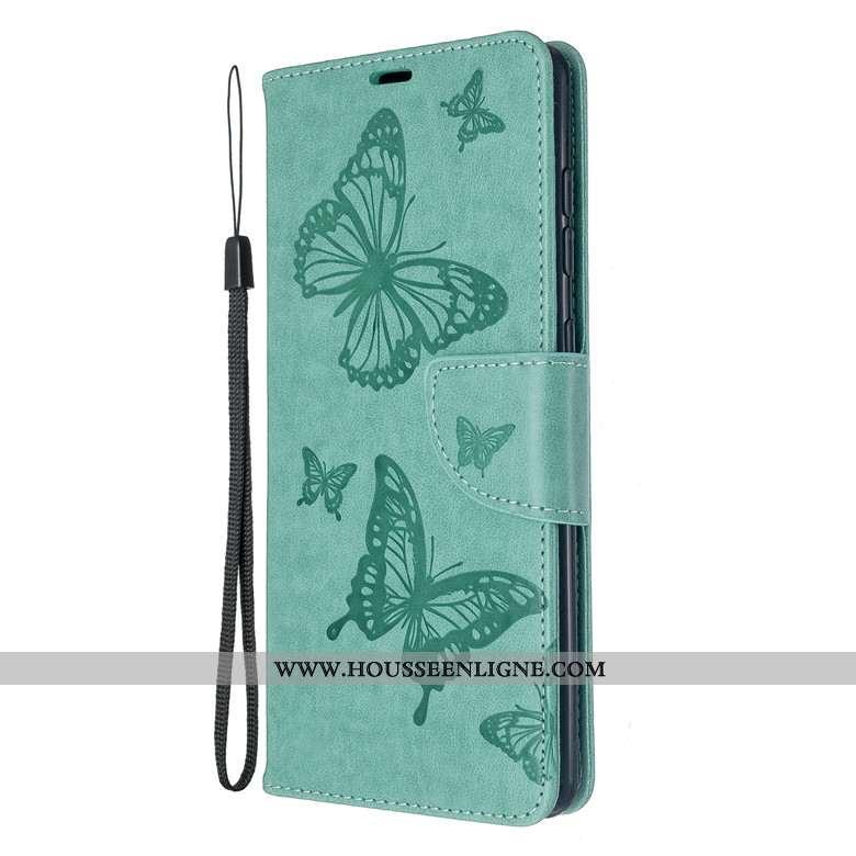 Étui Samsung Galaxy A71 Cuir Silicone Coque Téléphone Portable Papillon Tout Compris Protection Vert