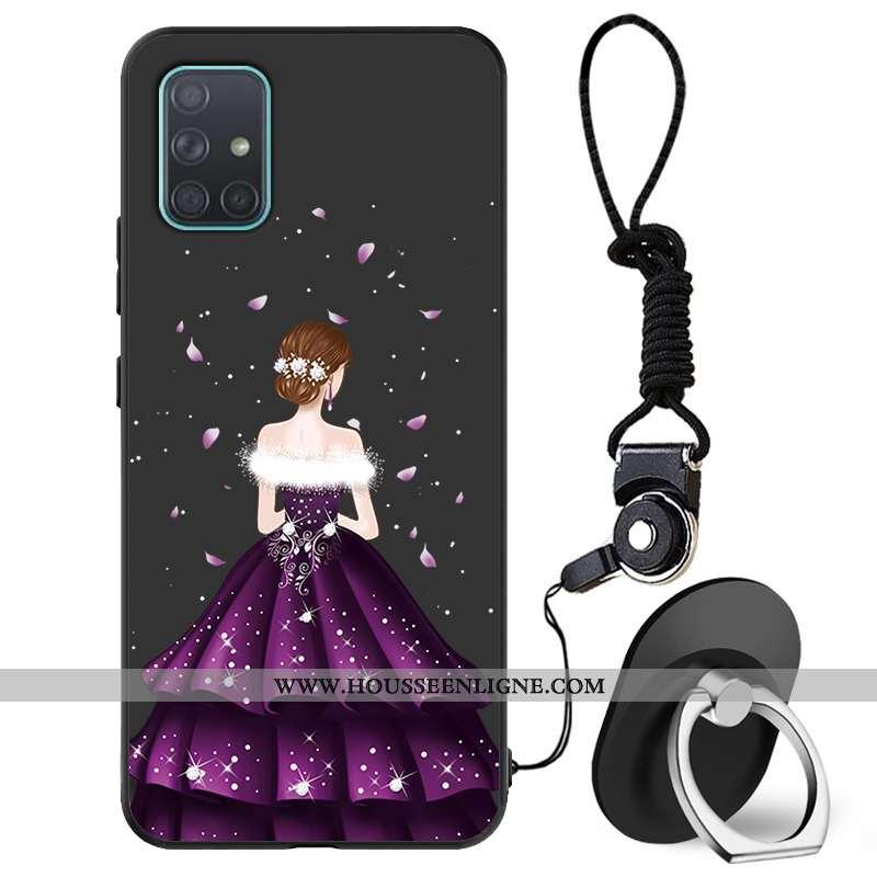 Étui Samsung Galaxy A71 Délavé En Daim Charmant Téléphone Portable Mode Incassable Fluide Doux Noir