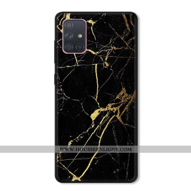 Étui Samsung Galaxy A71 Fluide Doux Silicone Protection Noir Téléphone Portable Personnalisé Bordure