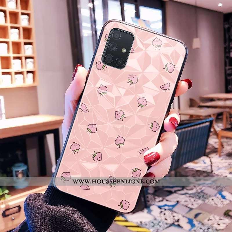 Étui Samsung Galaxy A71 Modèle Fleurie Frais Petit Étoile Rose Losange Téléphone Portable