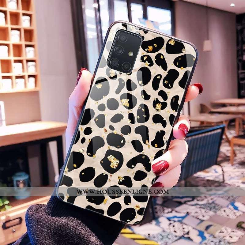 Étui Samsung Galaxy A71 Modèle Fleurie Protection Noir Tendance Léopard Rose Téléphone Portable
