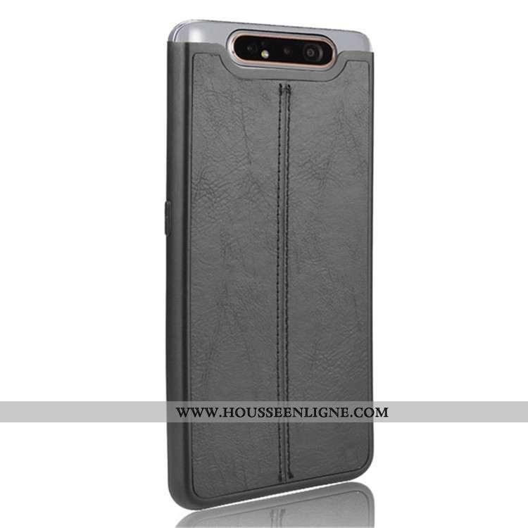 Étui Samsung Galaxy A80 Cuir Protection Difficile Coque Téléphone Portable Étoile Noir