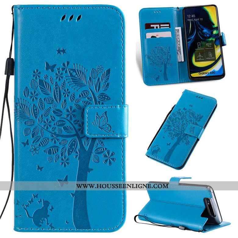 Étui Samsung Galaxy A80 Fluide Doux Protection Clamshell Coque Téléphone Portable Cuir Bleu