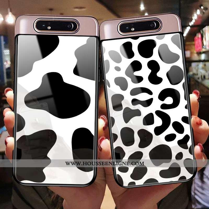 Étui Samsung Galaxy A80 Personnalité Créatif Incassable Verre Tout Compris Coque Silicone Noir