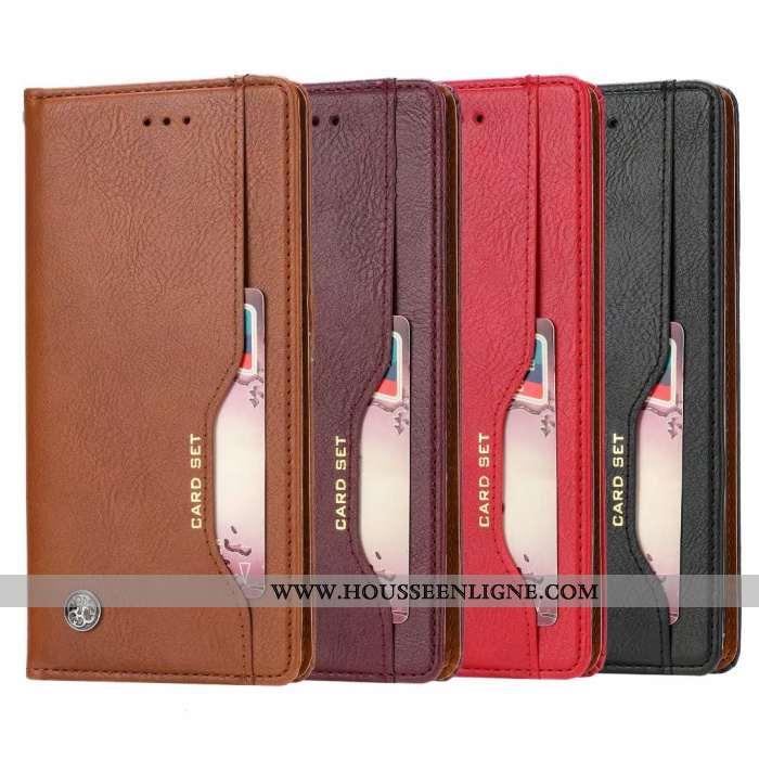 Étui Samsung Galaxy A80 Portefeuille Cuir Étoile Coque Protection Téléphone Portable Carte Rouge