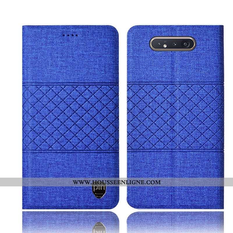 Étui Samsung Galaxy A80 Protection Cuir Coque Tout Compris Lin Étoile Bleu