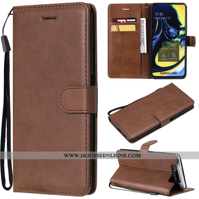 Étui Samsung Galaxy A80 Protection Cuir Couleur Unie Téléphone Portable Coque Étoile Marron