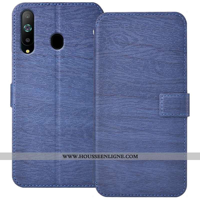 Étui Samsung Galaxy A8s Cuir Fluide Doux Protection Housse Coque Bordure Bleu Foncé