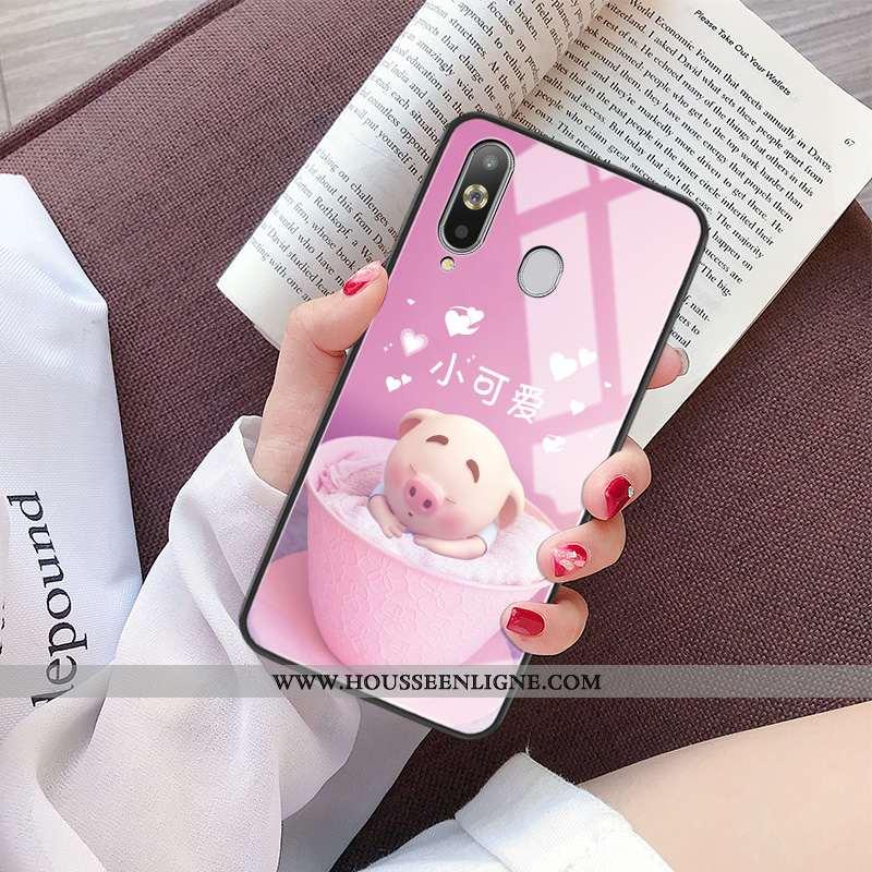 Étui Samsung Galaxy A8s Dessin Animé Charmant Net Rouge Personnalité Verre Miroir Rose