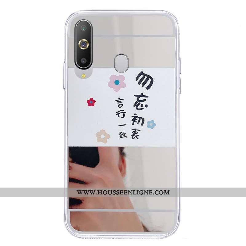 Étui Samsung Galaxy A8s Protection Fluide Doux Miroir Téléphone Portable Coque Blanc Étoile Blanche