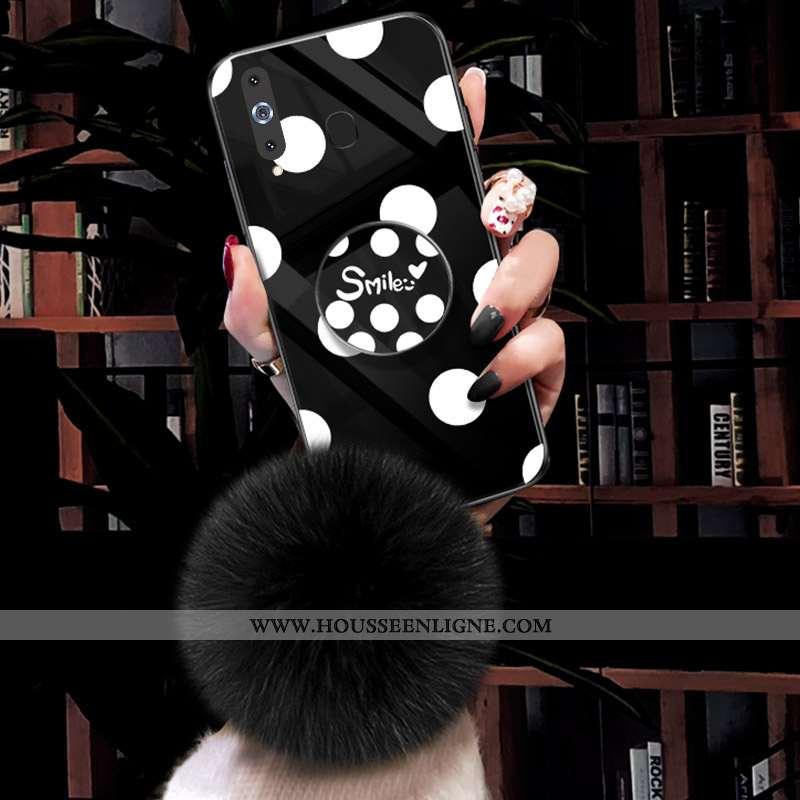 Étui Samsung Galaxy A8s Verre Vintage Point D'onde Téléphone Portable Nouveau Coque Noir
