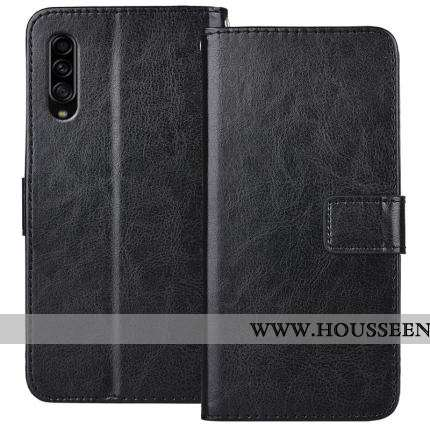 Étui Samsung Galaxy A90 5g Cuir Fluide Doux Noir Protection Clamshell Incassable Coque