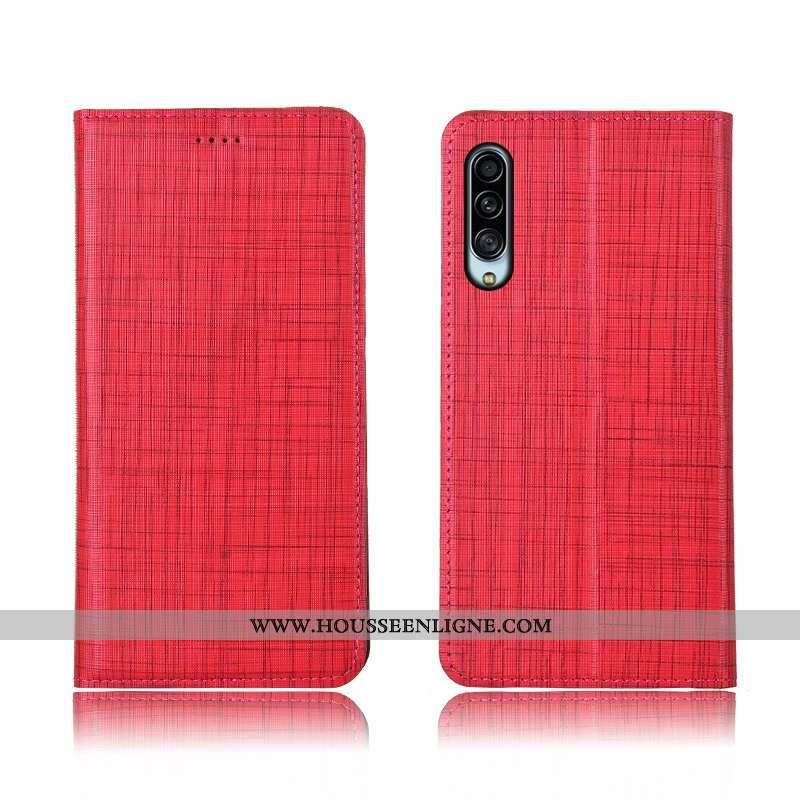 Étui Samsung Galaxy A90 5g Cuir Fluide Doux Téléphone Portable Tout Compris Coque Silicone Rouge