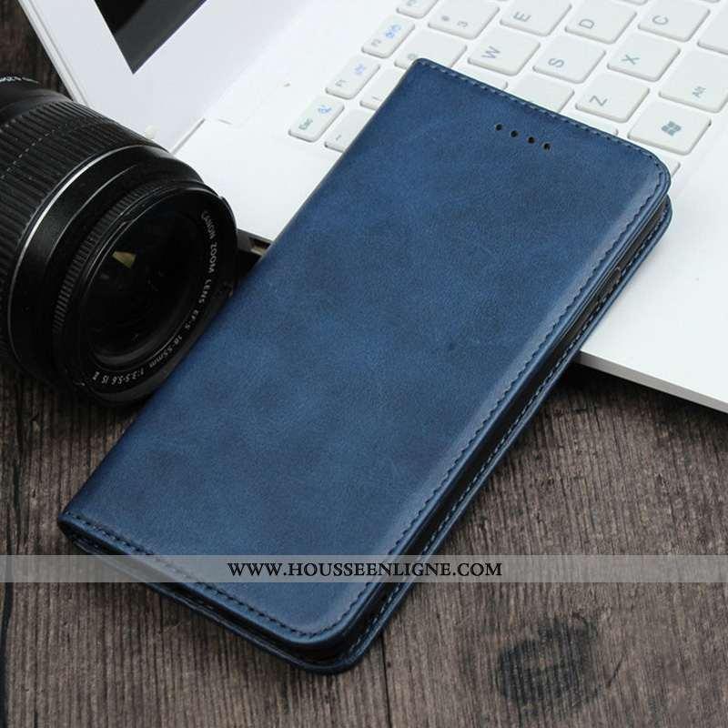 Étui Samsung Galaxy A90 5g Cuir Véritable Vintage Simple Clamshell Rouge Plier Tout Compris Bleu Fon