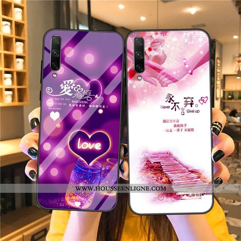 Étui Samsung Galaxy A90 5g Verre Charmant Coque Silicone Rose Protection Tendance