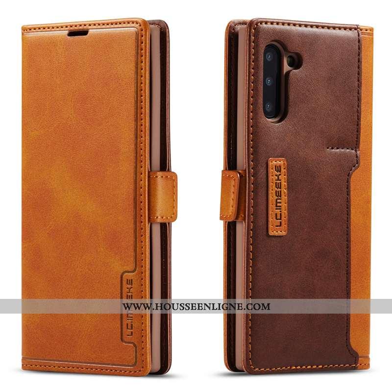Étui Samsung Galaxy Note 10 Cuir Véritable Coque Téléphone Portable Étoile Tout Compris Luxe Marron
