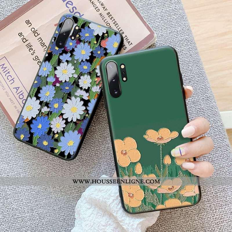 Étui Samsung Galaxy Note 10+ Délavé En Daim Gaufrage Petit Téléphone Portable Protection Tout Compri