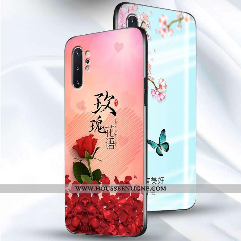 Étui Samsung Galaxy Note 10+ Fluide Doux Silicone Délavé En Daim Fleur Tendance Créatif Protection R