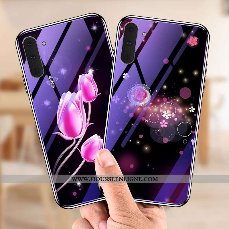 Étui Samsung Galaxy Note 10 Fluide Doux Verre Tendance Incassable Violet Tempérer Créatif