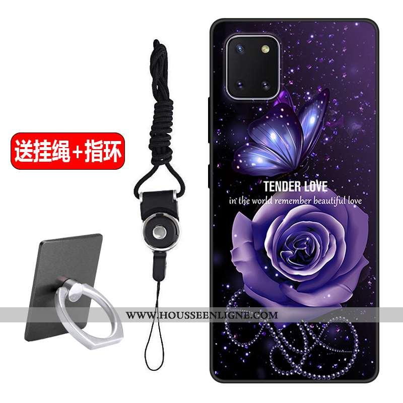 Étui Samsung Galaxy Note 10 Lite Délavé En Daim Créatif Étoile Protection Incassable Violet Silicone