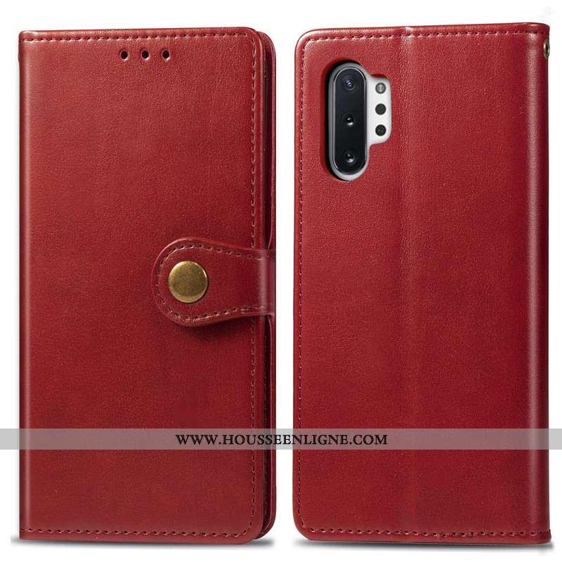 Étui Samsung Galaxy Note 10+ Ornements Suspendus Cuir Business Housse Simple Étoile Couleur Unie Rou