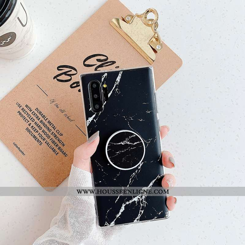 Étui Samsung Galaxy Note 10+ Personnalité Modèle Fleurie Silicone Incassable Coque Noir Grand