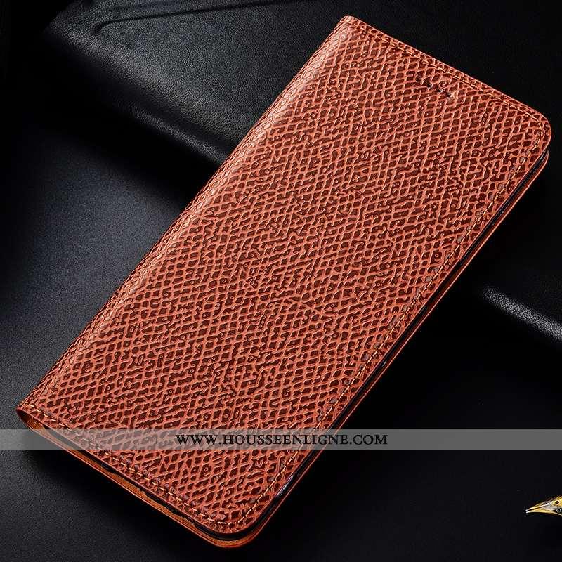Étui Samsung Galaxy Note 10 Protection Cuir Véritable Coque Modèle Fleurie Housse Incassable Marron
