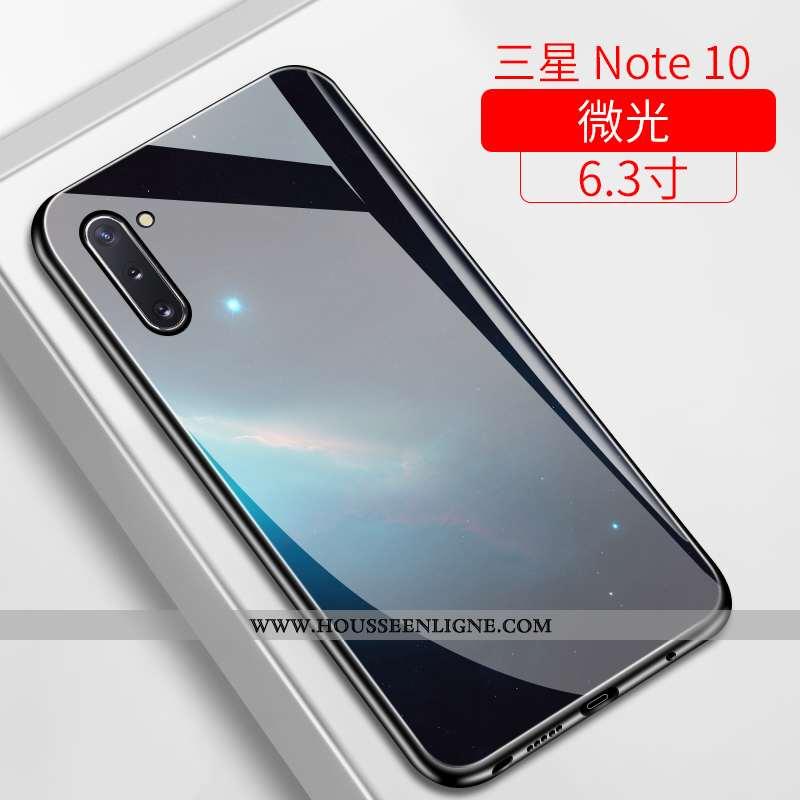 Étui Samsung Galaxy Note 10 Verre Ultra Téléphone Portable Incassable Étoile Bleu Marin Miroir Bleu