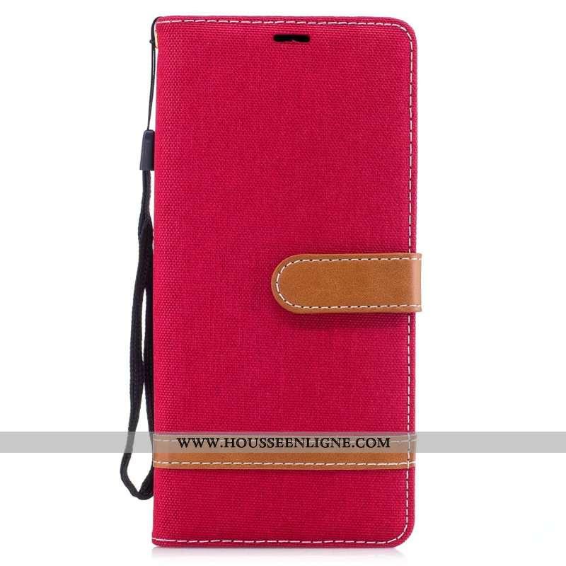 Étui Samsung Galaxy Note 8 Portefeuille Tendance En Denim Carte Rouge Tout Compris Téléphone Portabl