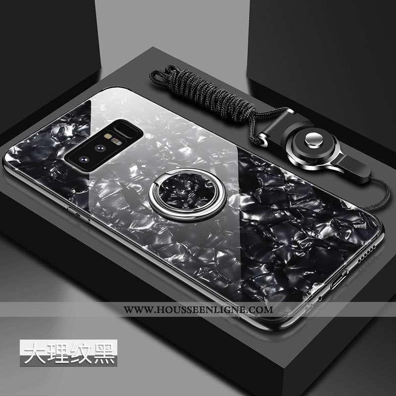Étui Samsung Galaxy Note 8 Verre Tendance Coquille Noir Tout Compris Fluide Doux Incassable