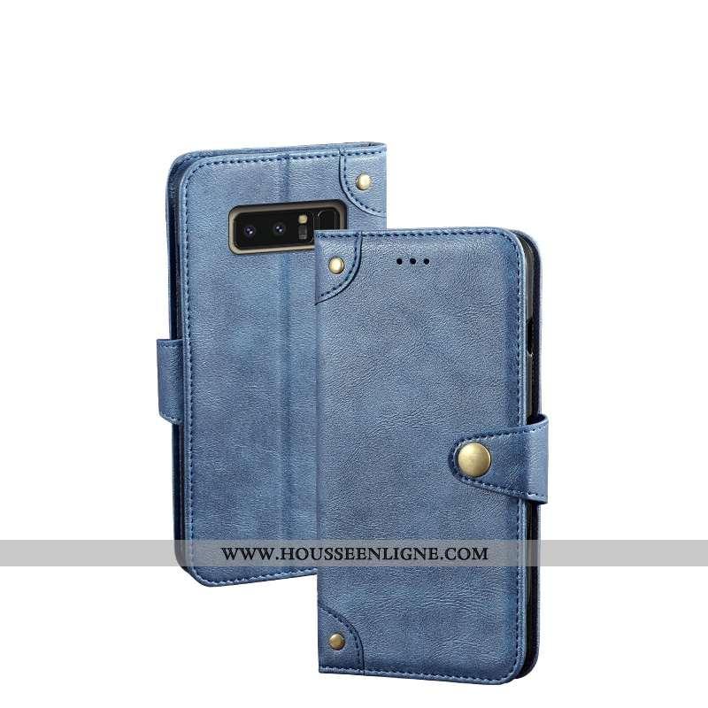 Étui Samsung Galaxy Note 8 Vintage Portefeuille Téléphone Portable Cuir Fluide Doux Incassable Bleu