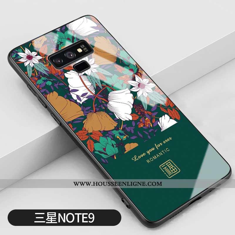 Étui Samsung Galaxy Note 9 Créatif Vintage Silicone Vert Protection Difficile Net Rouge Verte