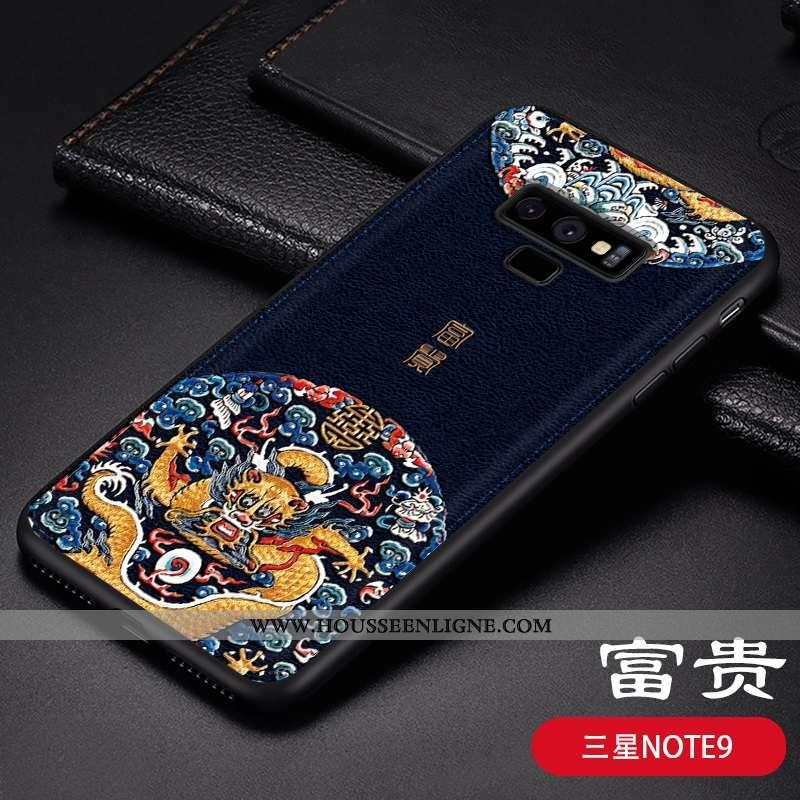 Étui Samsung Galaxy Note 9 Fluide Doux Personnalité Gaufrage Coque Tendance Téléphone Portable Cuir