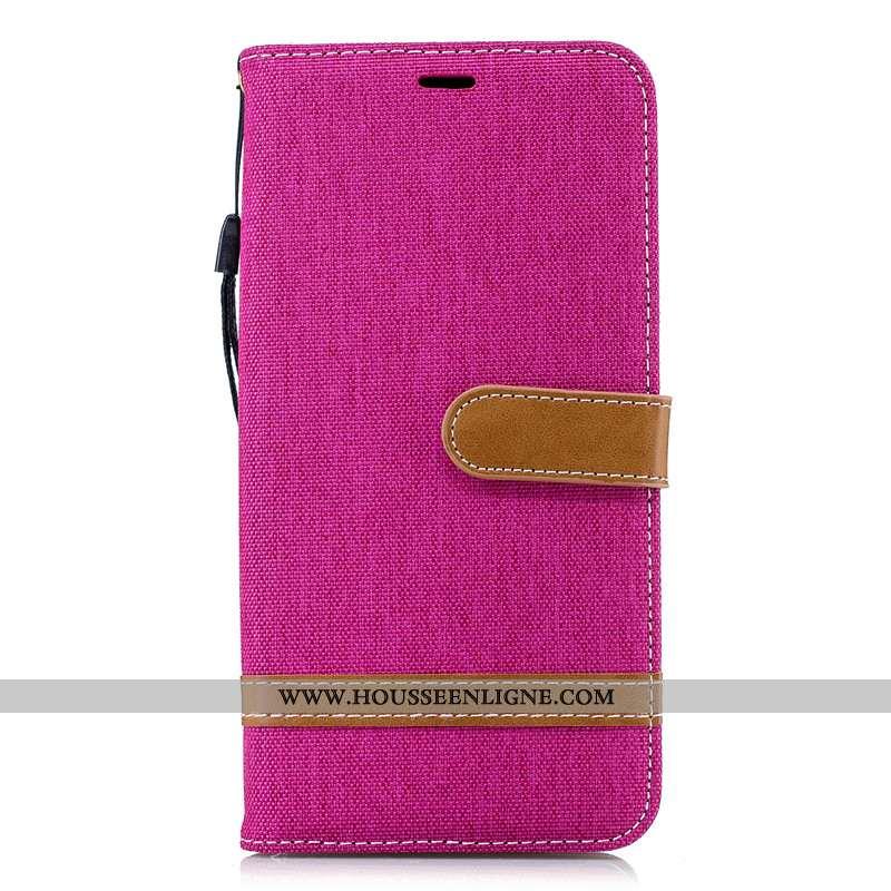 Étui Samsung Galaxy Note 9 Protection Portefeuille Rouge En Denim Tout Compris Cuir Rose