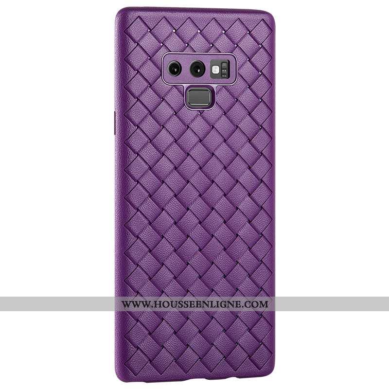Étui Samsung Galaxy Note 9 Silicone Protection Tout Compris Téléphone Portable Net Rouge Cuir Violet