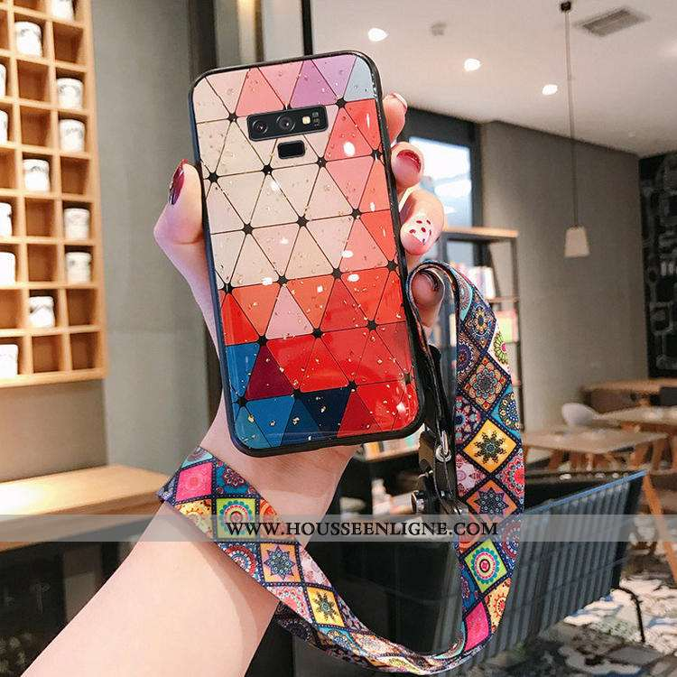 Étui Samsung Galaxy Note 9 Verre Tendance Téléphone Portable Vent Europe Net Rouge