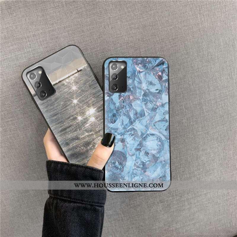 Étui Samsung Galaxy Note20 Modèle Fleurie Téléphone Portable Losange Cœur Incassable Étoile Coque Bl