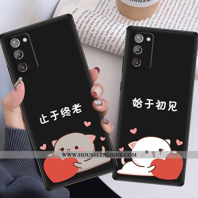 Étui Samsung Galaxy Note20 Silicone Délavé En Daim Téléphone Portable Étoile Évasé Noir Fluide Doux