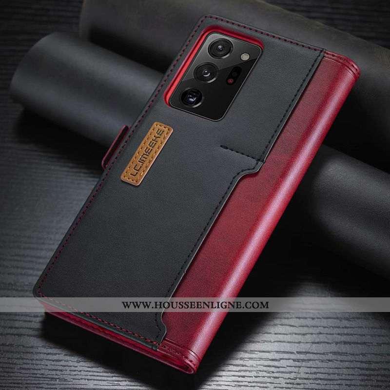 Étui Samsung Galaxy Note20 Ultra Cuir Housse Carte Coque Rouge Téléphone Portable