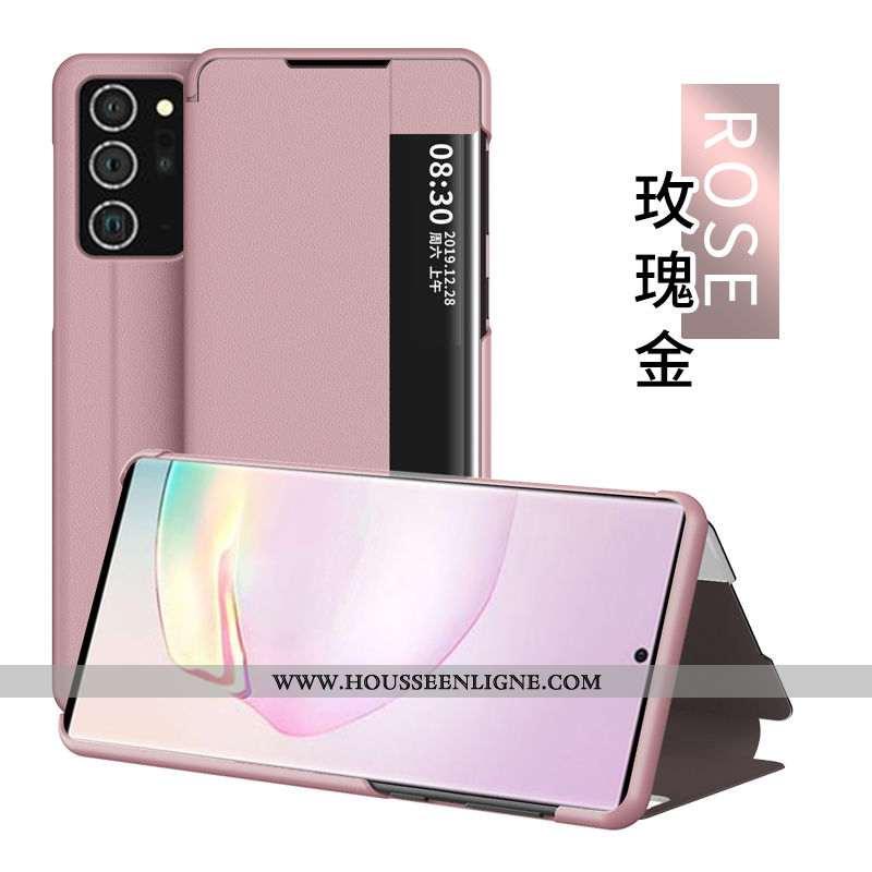 Étui Samsung Galaxy Note20 Ultra Cuir Windows Tout Compris Rose Téléphone Portable Housse