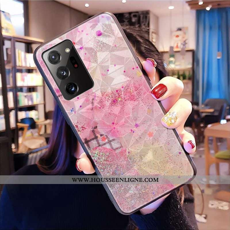 Étui Samsung Galaxy Note20 Ultra Modèle Fleurie Fluide Doux Rose Téléphone Portable Étoile Losange C