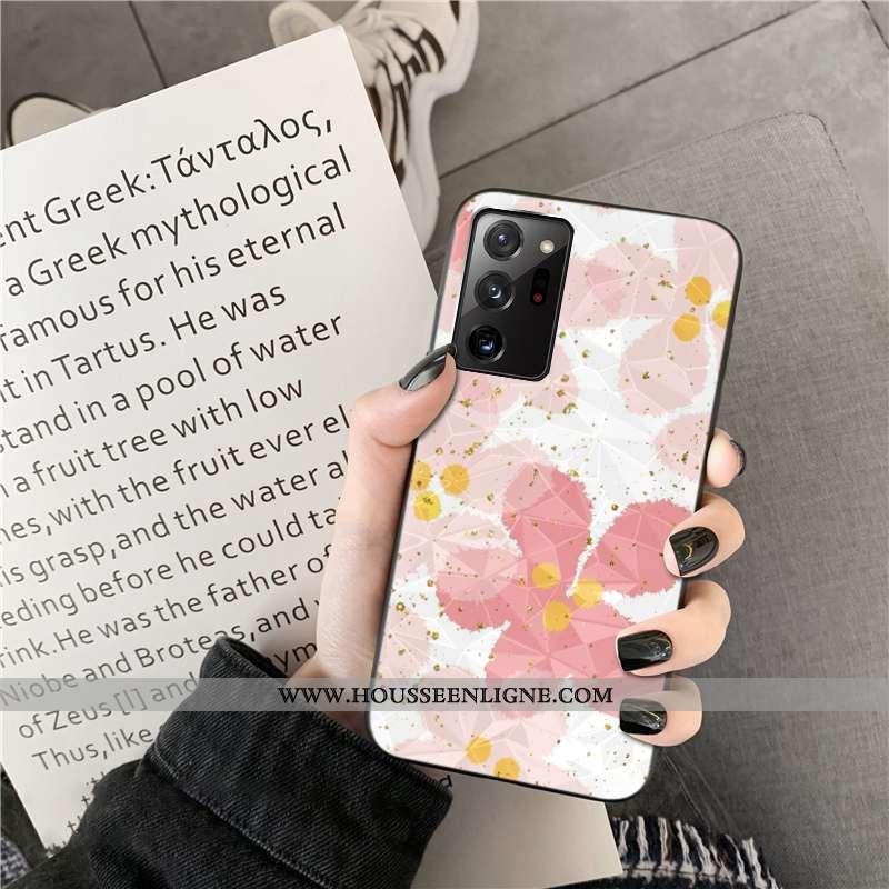 Étui Samsung Galaxy Note20 Ultra Modèle Fleurie Incassable Fleur Étoile Rose Coque Téléphone Portabl
