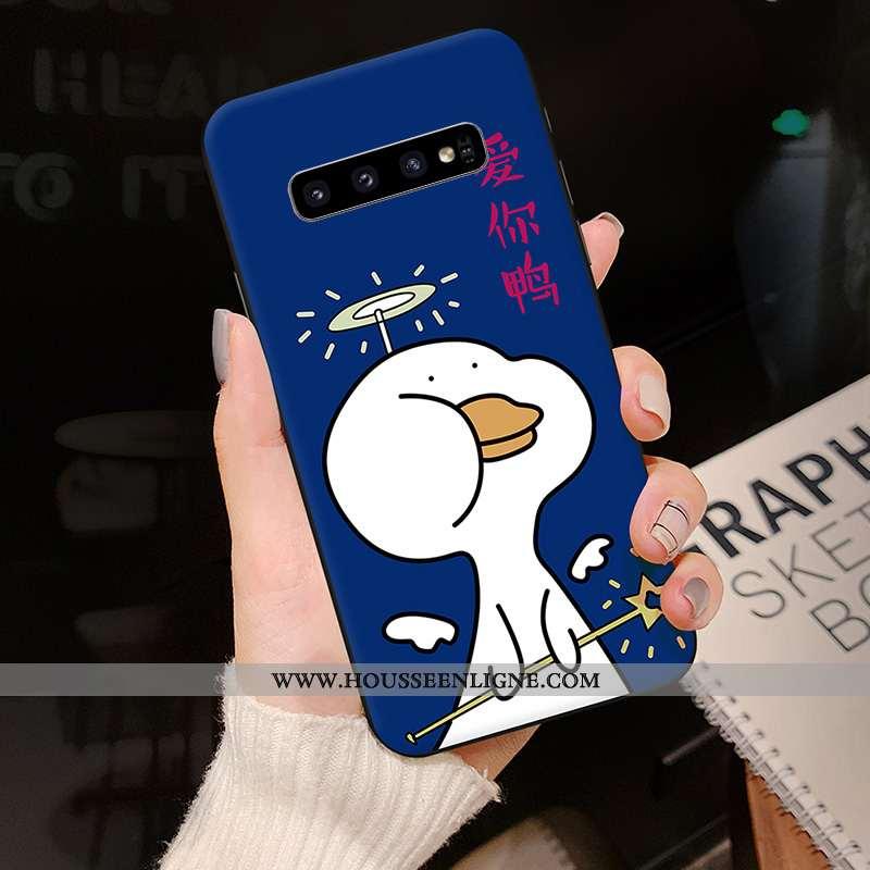 Étui Samsung Galaxy S10 Créatif Dessin Animé Tendance Coque Silicone Bleu Marin Bleu Foncé
