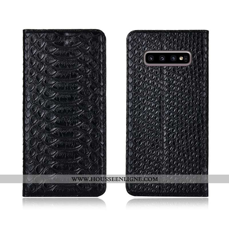 Étui Samsung Galaxy S10 Cuir Véritable Cuir Incassable Étoile Noir Nouveau