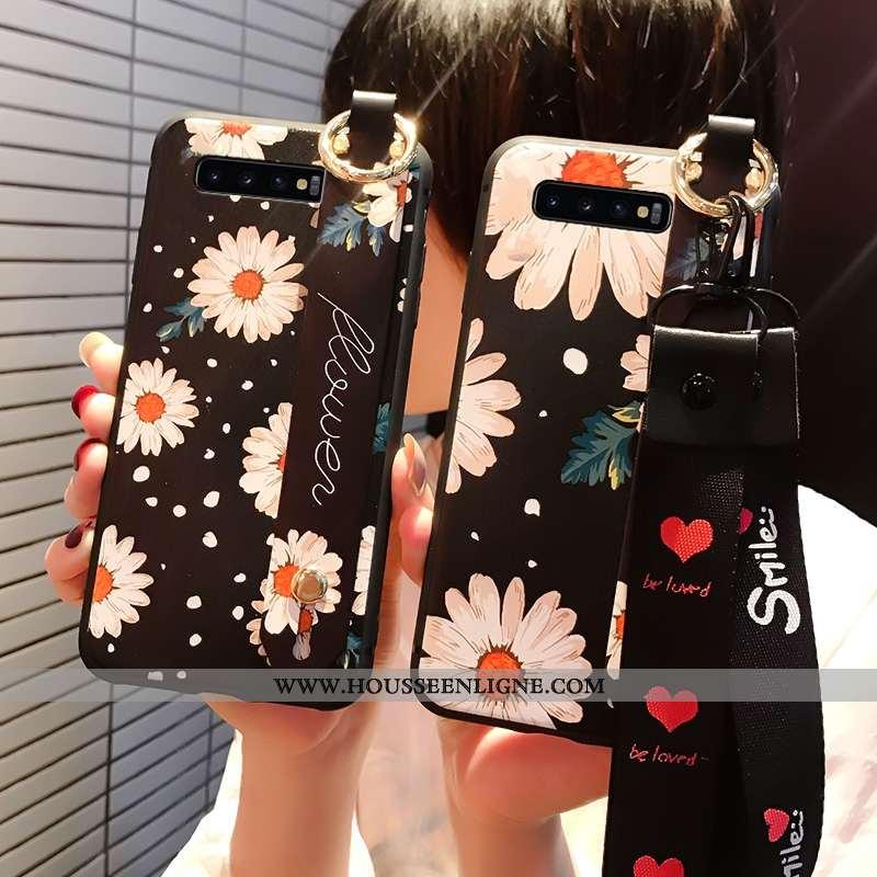 Étui Samsung Galaxy S10 Délavé En Daim Personnalité 2020 Fluide Doux Noir Téléphone Portable Coque