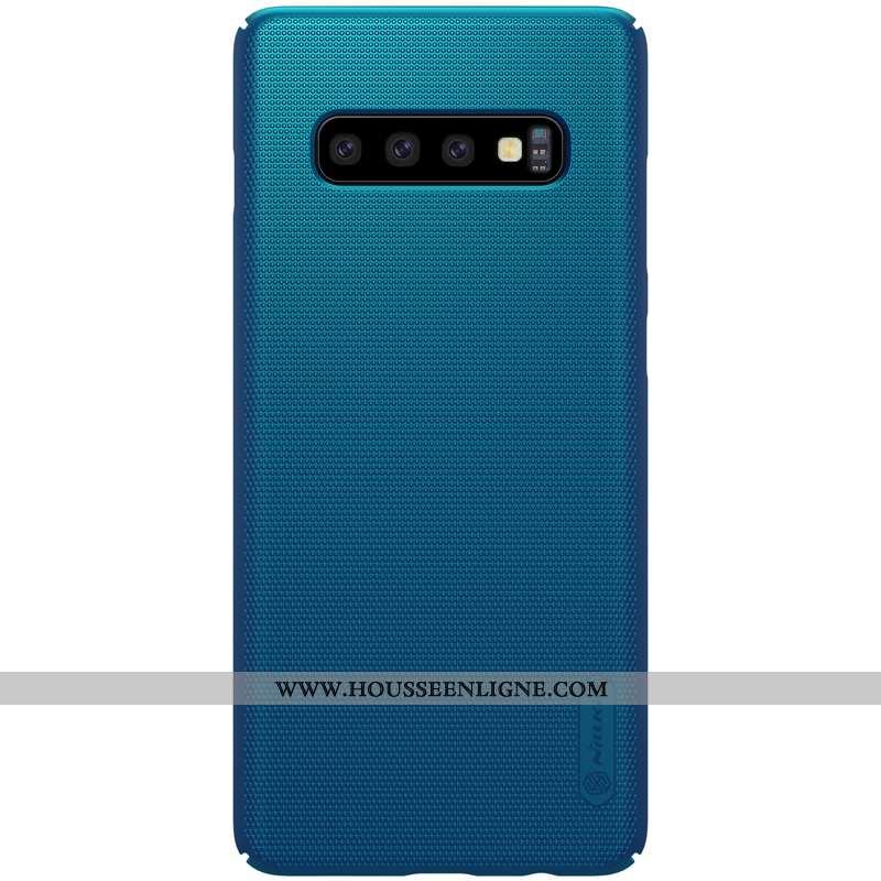 Étui Samsung Galaxy S10+ Délavé En Daim Protection Difficile Bleu Tout Compris Téléphone Portable