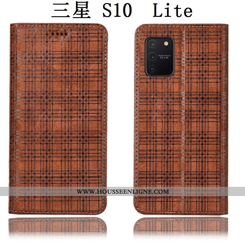 Étui Samsung Galaxy S10 Lite Cuir Véritable Protection Marron Tout Compris Étoile Housse