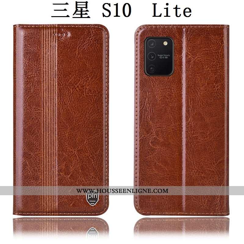 Étui Samsung Galaxy S10 Lite Cuir Véritable Protection Marron Tout Compris Téléphone Portable Housse